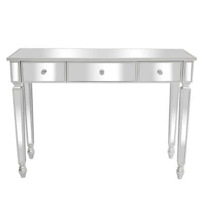 3-Drawers Silver Mirror Dressing Table Console Table (29.9 in. H x 41.7 in. W x 14.9 in. D)