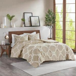 Nollie 3-Piece Taupe King/Cal King Tufted Cotton Comforter set
