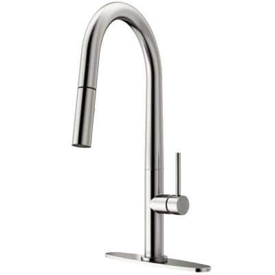 Greenwich Single-Handle Pull-Down Sprayer Kitchen Faucet with Deck Plate in Stainless Steel