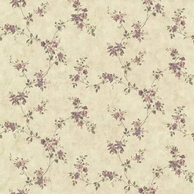 Rose Valley Violet Floral Trail Violet Wallpaper Sample