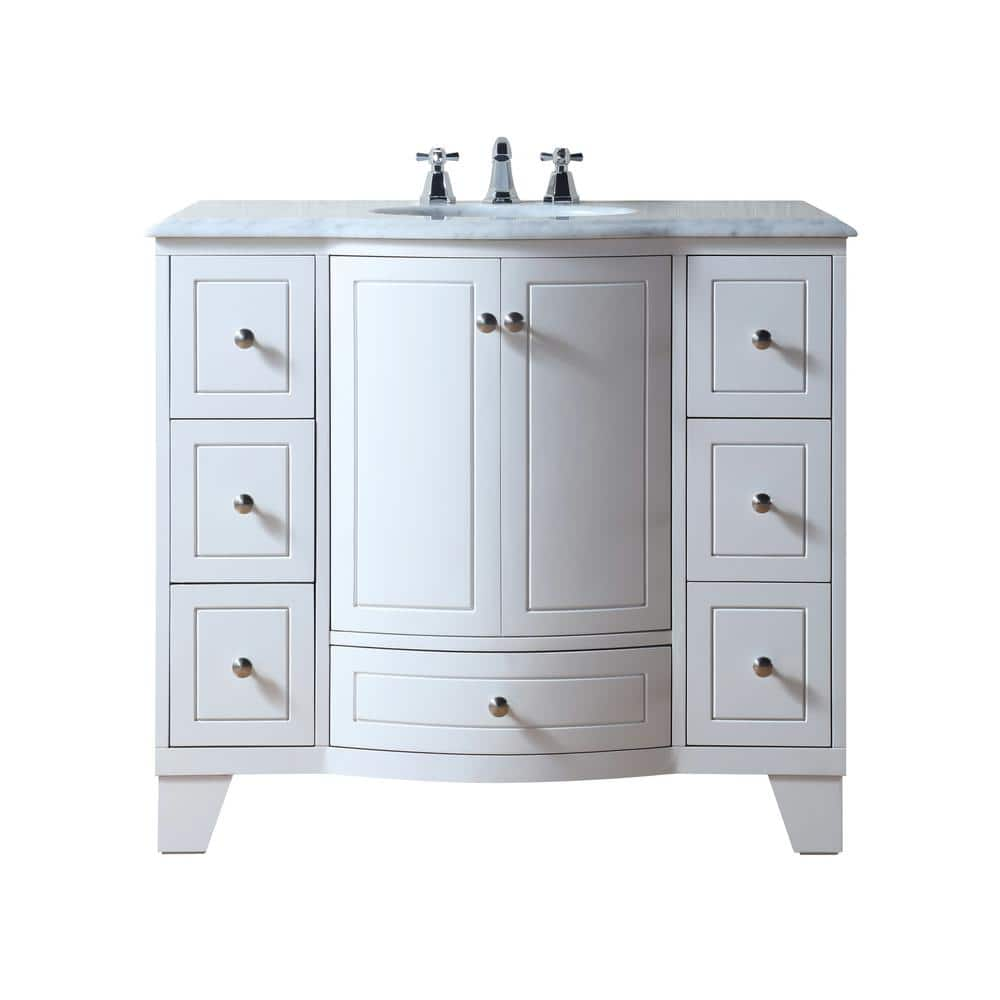 Stufurhome Grand Cheswick 40 In Bath Vanity In White With Marble Vanity Top In Carrara White With White Undermount Sink Gm 2206w 40 Cr The Home Depot