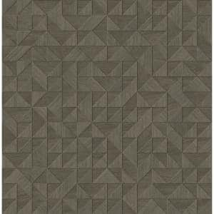 Hana, Gallerie Taupe Geometric Wood Wallpaper