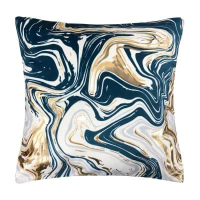 Marble Indigo 18 in. x 18 in. Decorative Pillow