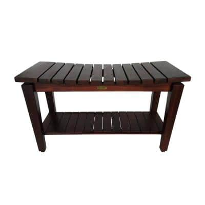 Sojourn 35 in. Contemporary Teak Eastern Style Shower Bench with Shelf