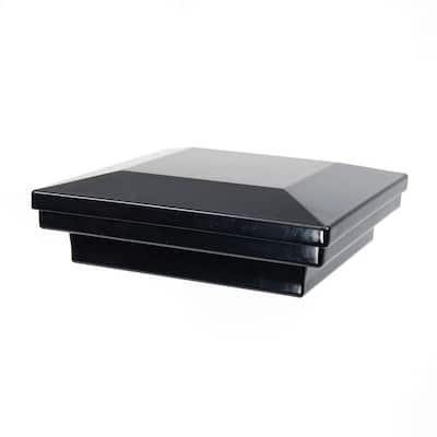 4 in. x 4 in. Gloss Black Aluminum Flat Pyramid Post Cap
