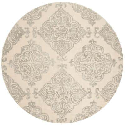 Glamour Ivory/Silver 6 ft. x 6 ft. Round Floral Area Rug