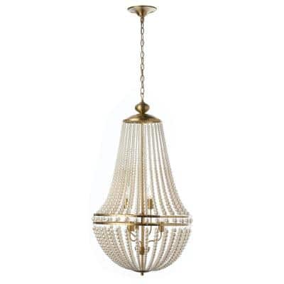 Dawson 6-Light Pearl White Chandelier with Acrylic Shades