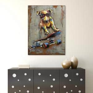 ''Dog on skateboard'' Mixed Media Iron Hand Painted Dimensional Wall Decor