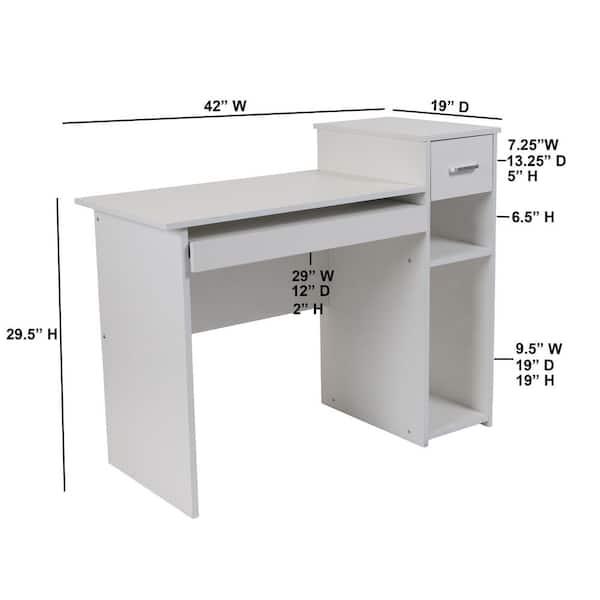 Flash Furniture 42 In White, Flash Furniture Computer Desk
