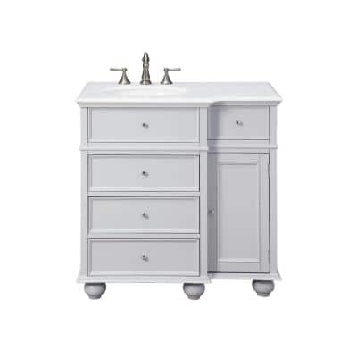 Hampton Harbor 36 in. Vanity in Dove Grey with Natural Marble Vanity Top in White with White Sink