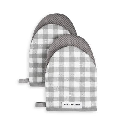 Gingham Cotton Gray Mini Oven Mitt (2-Pack)