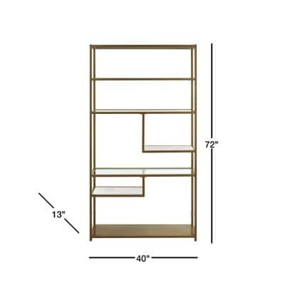 72 in. Brass/Clear Metal 6-shelf Etagere Bookcase with Open Back