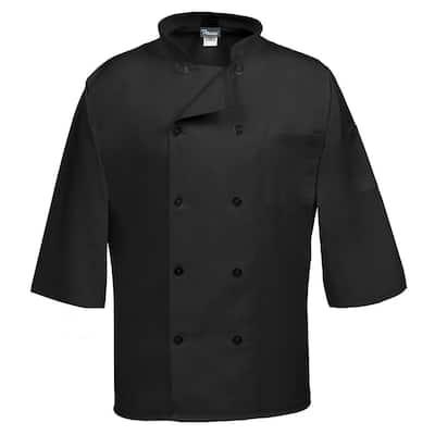 C10P-3/4 Unisex LG Black Three Quarter Sleeve Classic Chef Coat