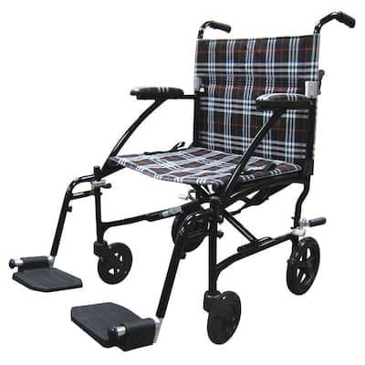 Fly Lite Ultra Lightweight Plaid Transport Wheelchair