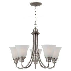 Windgate 5-Light Brushed Nickel Classic Traditional Hanging Single Tier Empire Chandelier with Alabaster Glass Shades