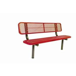 6 ft. Diamond Red In-Ground Commercial Park Bench with Back Surface Mount