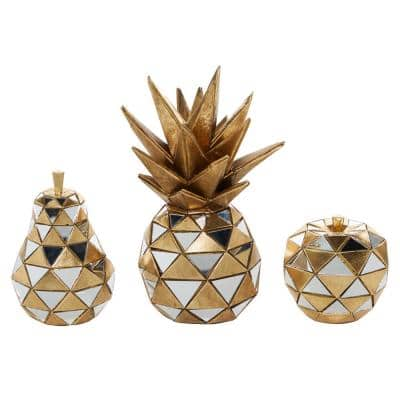 4.5 in. x 6.25 in. x 10.5 in. Polystone Antique Gold and Glass Mirrored Geometric Fruit Sculptures (Set of 3)