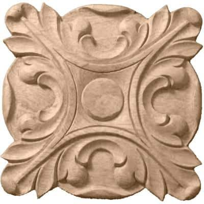 6-1/2 in. x 1 in. x 6-1/2 in. Unfinished Wood Cherry Acanthus Rosette