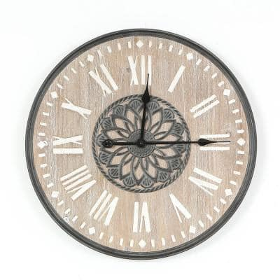 23.6 in. Dia MDF and Iron Wall Clock