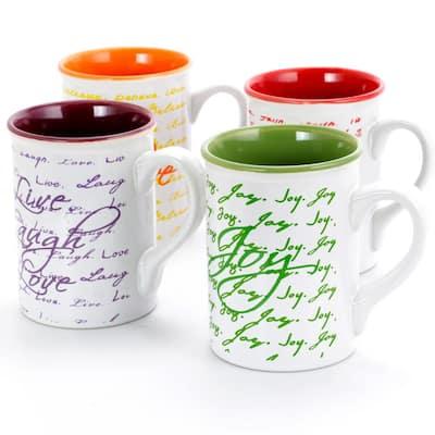 Inspirational Words 16 oz. Assorted color Ceramic Mug (Set of 4)
