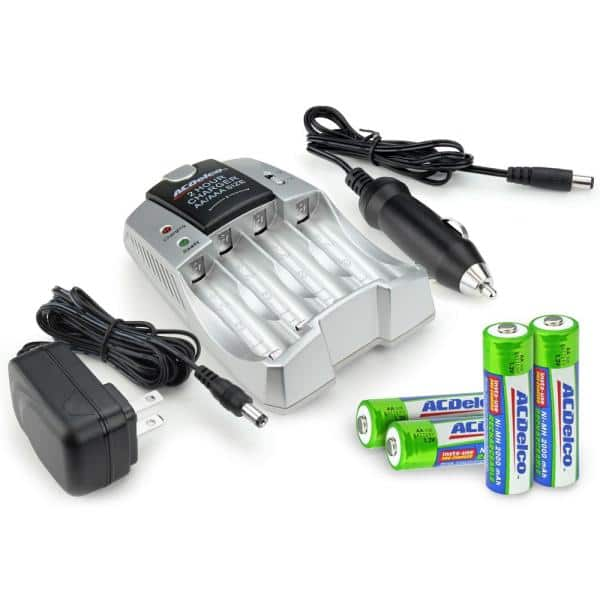Acdelco Aa Aaa Nimh Rechargeable Fast Charger With 4 Aa Battery Included Ac748 The Home Depot