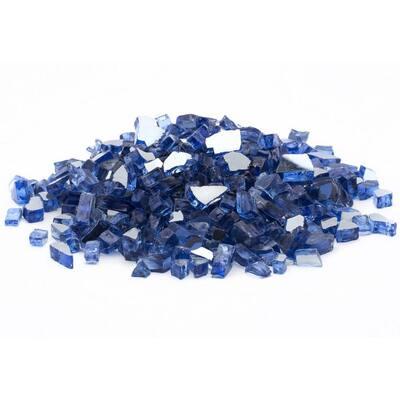 1/2 in. 25 lb. Medium Cobalt Blue Reflective Tempered Fire Glass