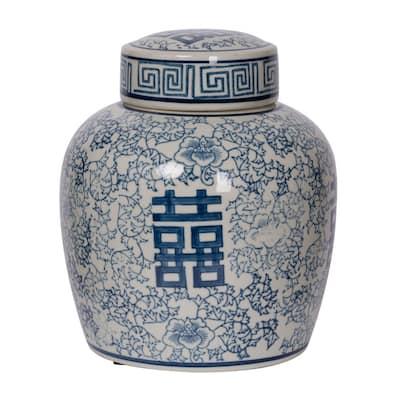Berit Blue, White Medium Lidded Jar