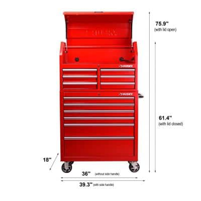 36 in. 12-Drawer Red Tool Chest and Cabinet Combo