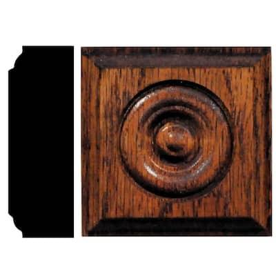 7/8 in. x 2-1/2 in. x 2-1/2 in. Oak Chestnut Stained Rosette Block Moulding