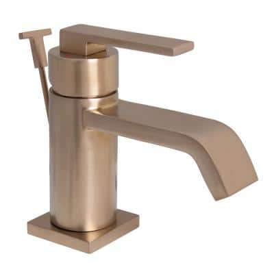 Lura Single Hole Single-Handle Bathroom Faucet with Drain in Brushed Bronze