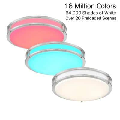 14 in. Voice Controlled Colors Brushed Nickel Smart LED Flush Mount