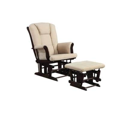 Functionally Appealing Beige Glider Chair with Ottoman