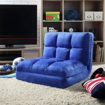 Microsuede Blue Flip Floor Chair Convertible Lounger/Sleeper