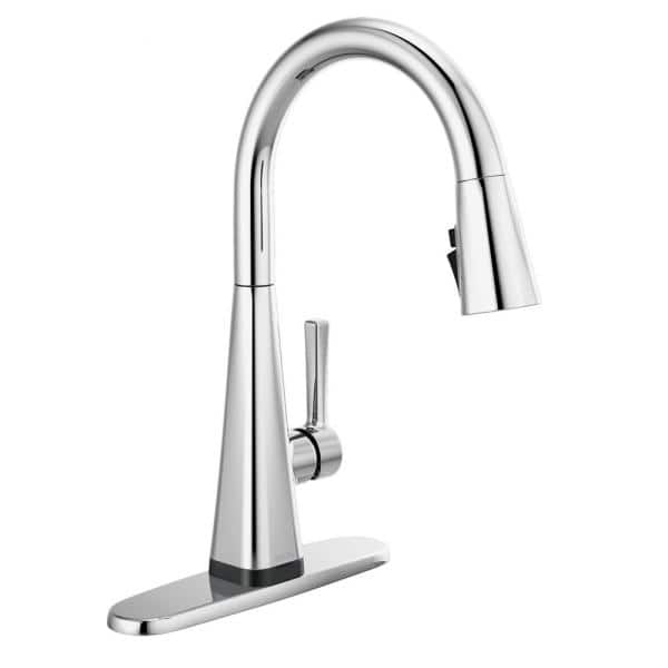 Delta Lenta Touch Single Handle Pull Down Sprayer Kitchen Faucet With Shieldspray Technology In Chrome 19802tz Dst The Home Depot
