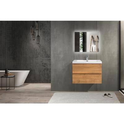 36 in. W x 19.5 in. D x 20.5 in. H Bathroom Vanity Side Cabinet in Oak with White Top and Basin