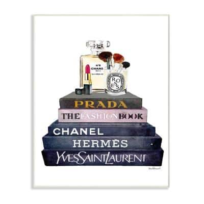 """12.5 in. x 18.5 in. """"Glam Fashion Book Set With Makeup"""" by Amanda Greenwood Printed Wood Wall Art"""