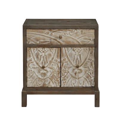 Treasures Weathered Natural 1-Drawer 2-Door Accent Cabinet
