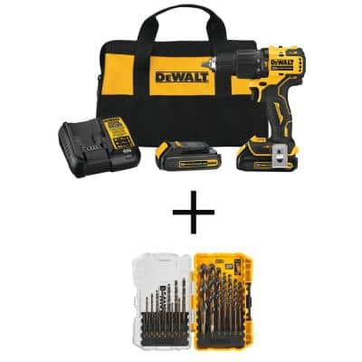 ATOMIC 20-Volt MAX Cordless Brushless Compact 1/2 in. Hammer Drill Kit with Black and Gold Drill Bit Set (21-Piece)