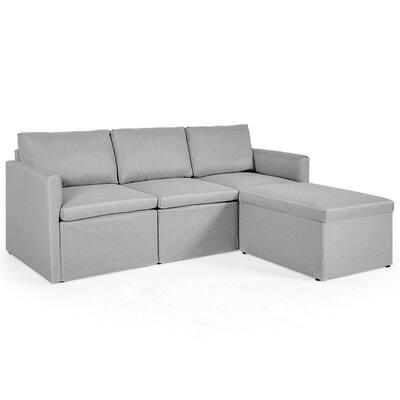 75.5 in. W Light Gray Pattern Polyester 4-Seat Bridgewater Sofa