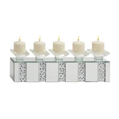 Clear Wood Glam Candle Holder