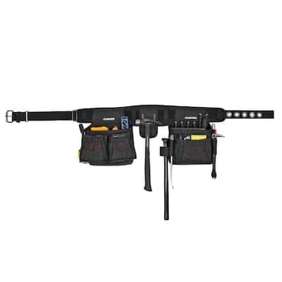 2-Bag 10-Pocket Black Contractor's Work Tool Belt