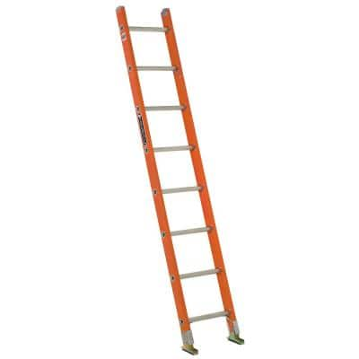 8 ft. Fiberglass Single Ladder with 300 lbs. Load Capacity Type IA Duty Rating