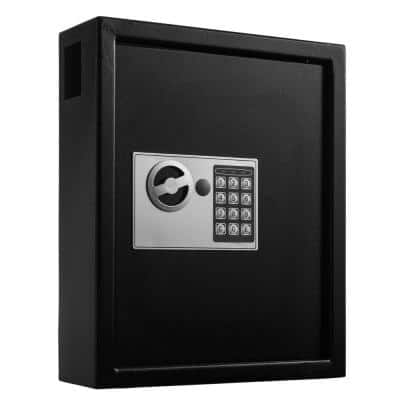 40-Key Steel Digital Lock Key Cabinet, Black