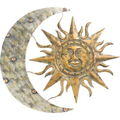 24 in. W x .50 in. D x 26 in. H Metal Aztec Sun and Moon Wall Art