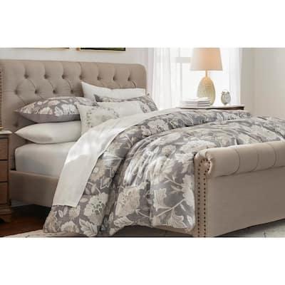 Larkspur 5-Piece Stone Gray and Khaki Cotton Full/Queen Comforter Set