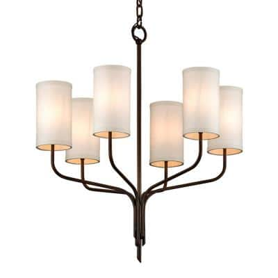 Juniper 6-Light Juniper Bronze 25.5 in. D Chandelier with Off-White Hardback Linen Shade