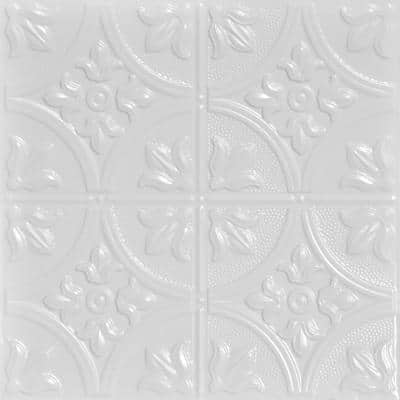 Tiptoe 2 ft. x 2 ft. Nail Up Tin Ceiling Tiles Surface Mount White (48 sq. ft./case)
