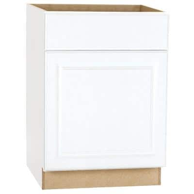 Hampton Satin White Raised Panel Stock Assembled Base Kitchen Cabinet with Drawer Glides (24 in. x 34.5 in. x 24 in.)