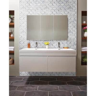 Framework 12 in. x 13.5 in. x 10mm Polished Marble Mesh-Mounted Mosaic Tile (10.99 sq. ft. / case)