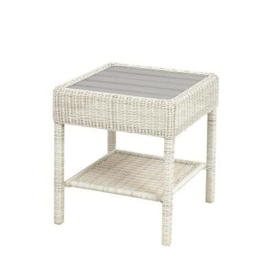 Park Meadows Off-White Wicker Outdoor Patio Accent Table